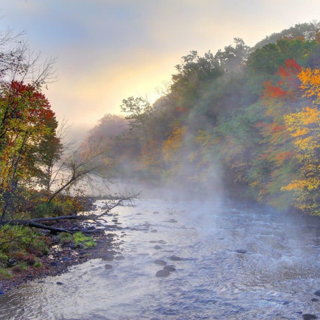 Photo of a river lined with Fall foliage along the Mohawk Trail in Massachusetts.