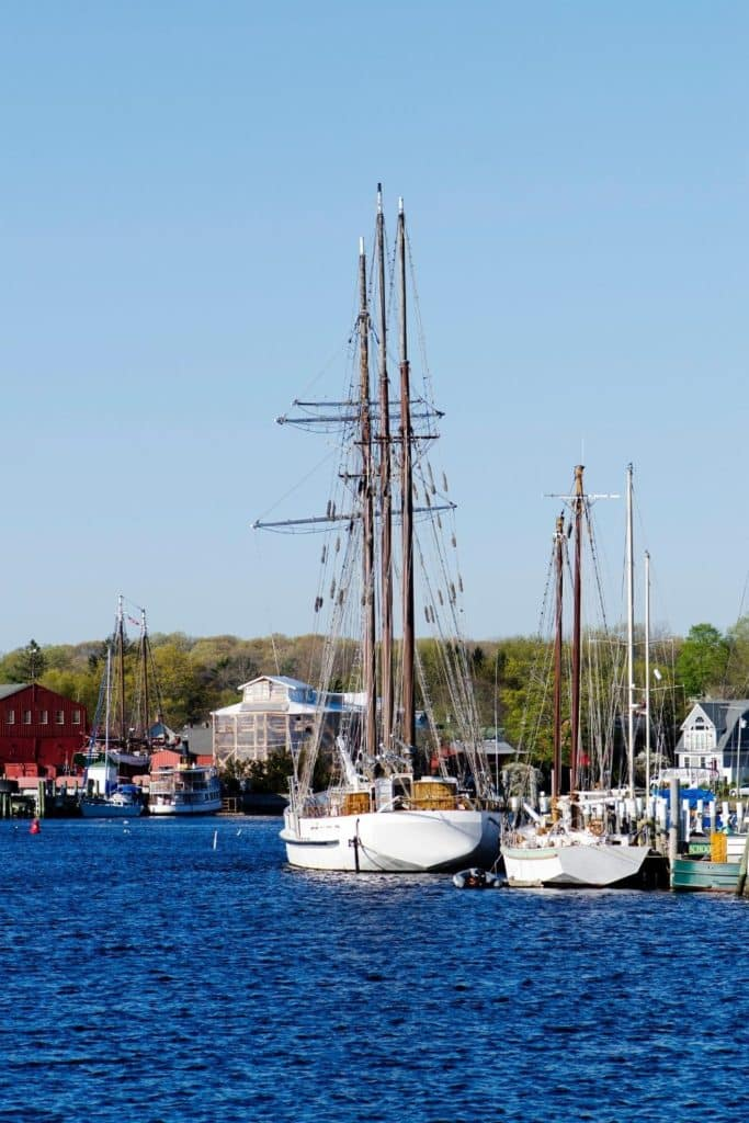 Photo of sailboats docked nearby Mystic, Connecticut.