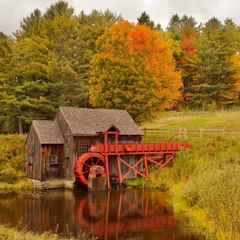 Photo of the Grist Mill in Sudbury, Massachusetts in the Fall.