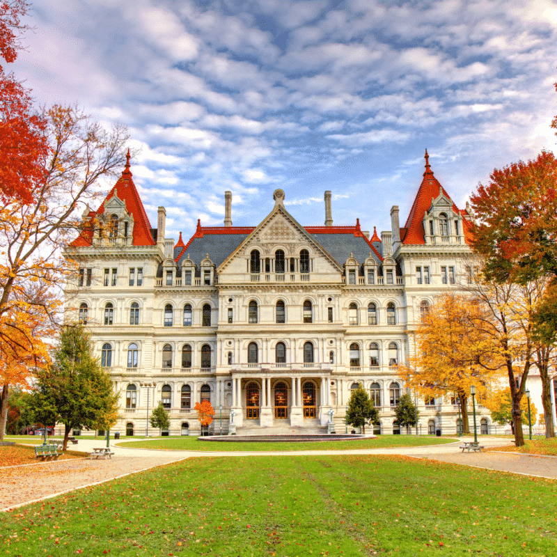 Photo of the governors mansion in New York.
