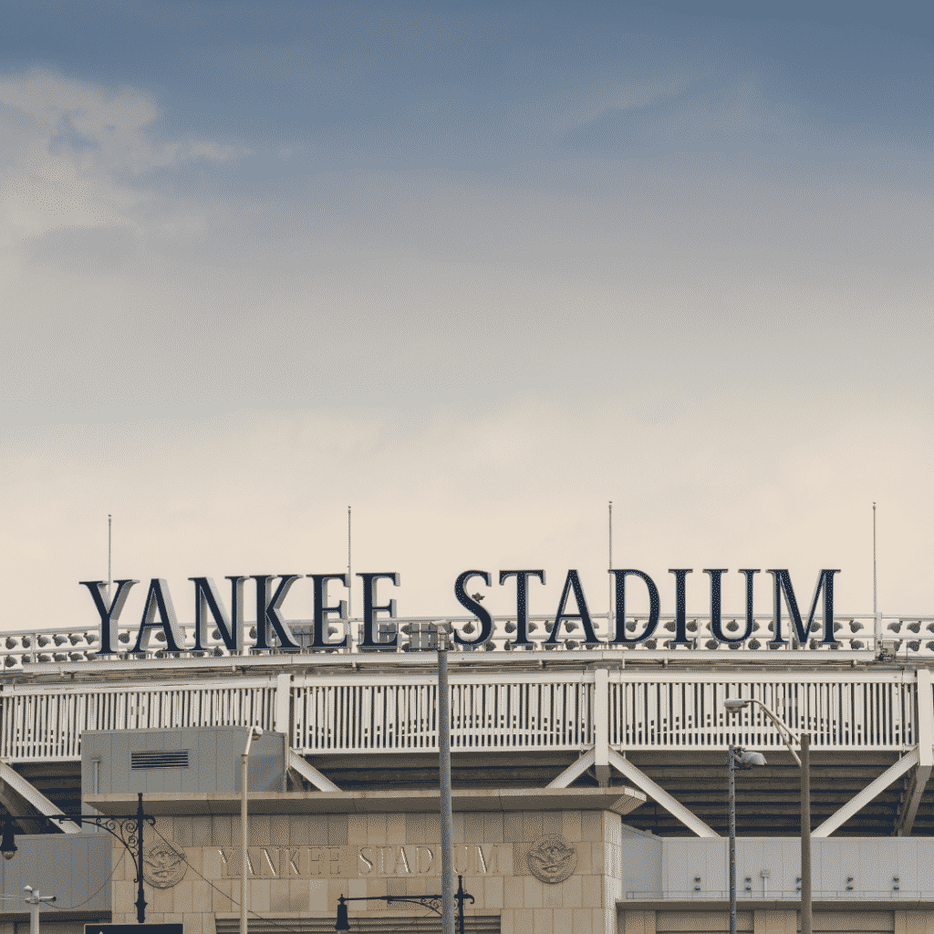 """Photo of a sign at a baseball stadium that reads """"Yankee Stadium."""""""