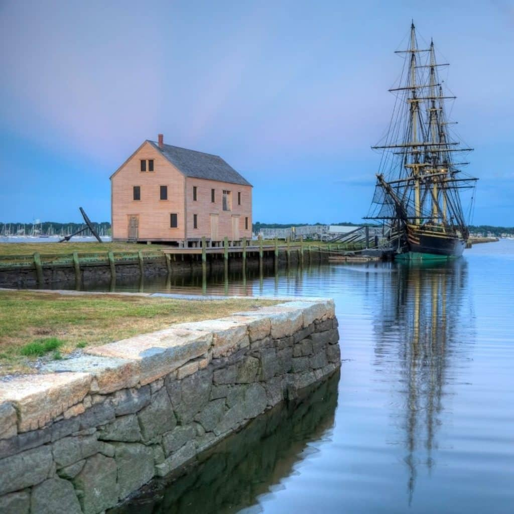 Photo of a tall ship replica at the Salem Maritime Historic Site.