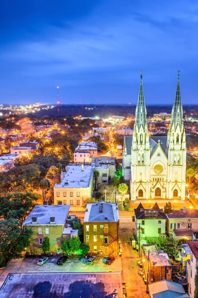 Aerial photo of Savannah, GA at night.
