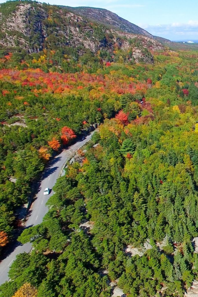 Aerial view of Park Loop Road in Acadia National Park in Maine in the Fall.