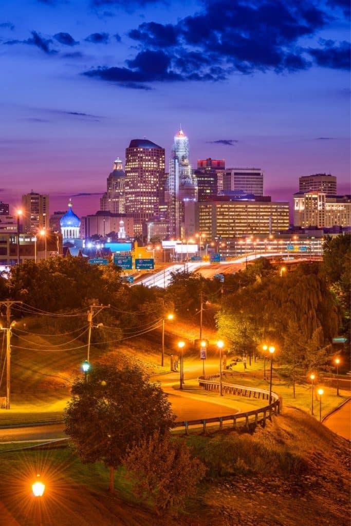 Photo of the Hartford, CT skyline at night.