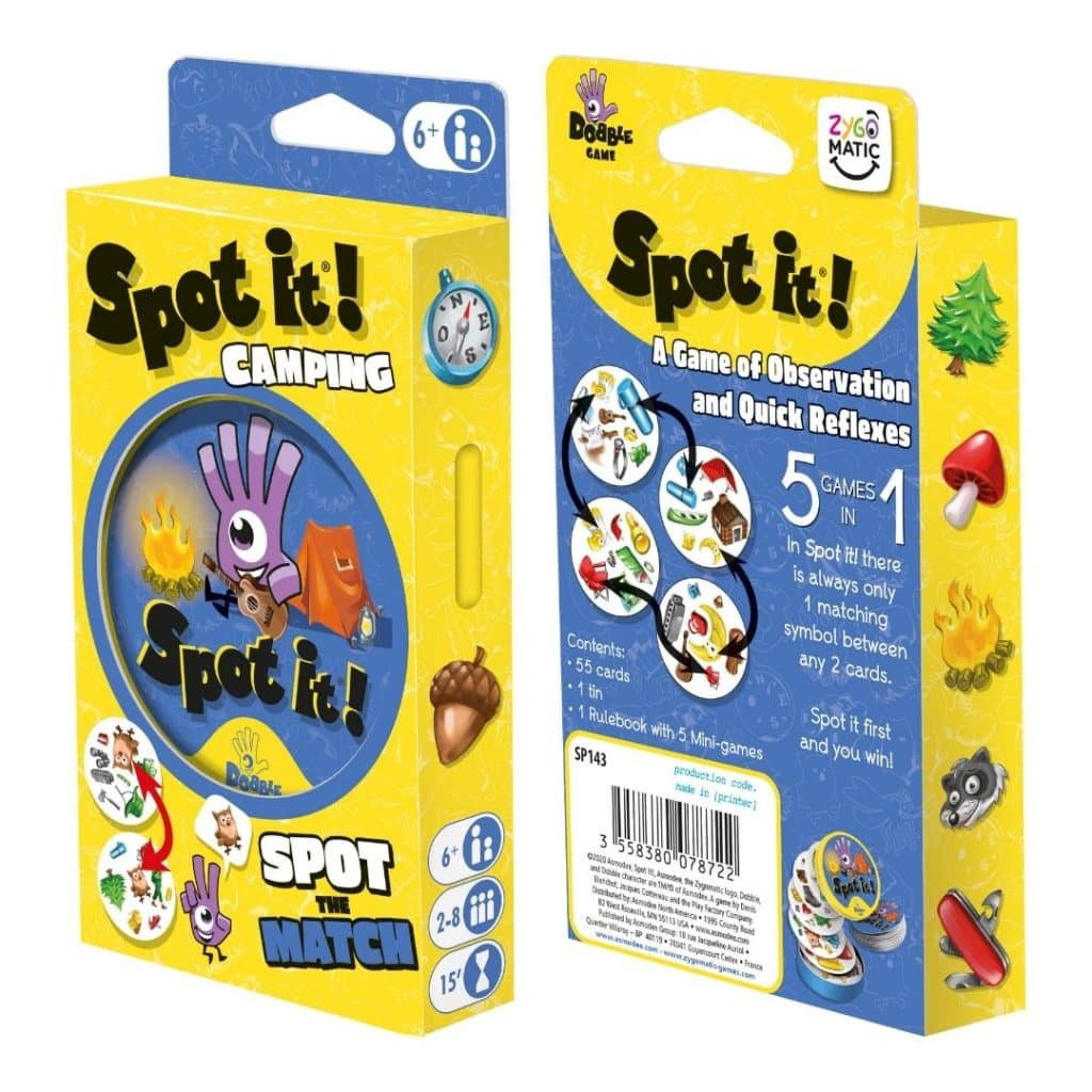 Photo of the front and back of the package for Spot it! Camping card game.