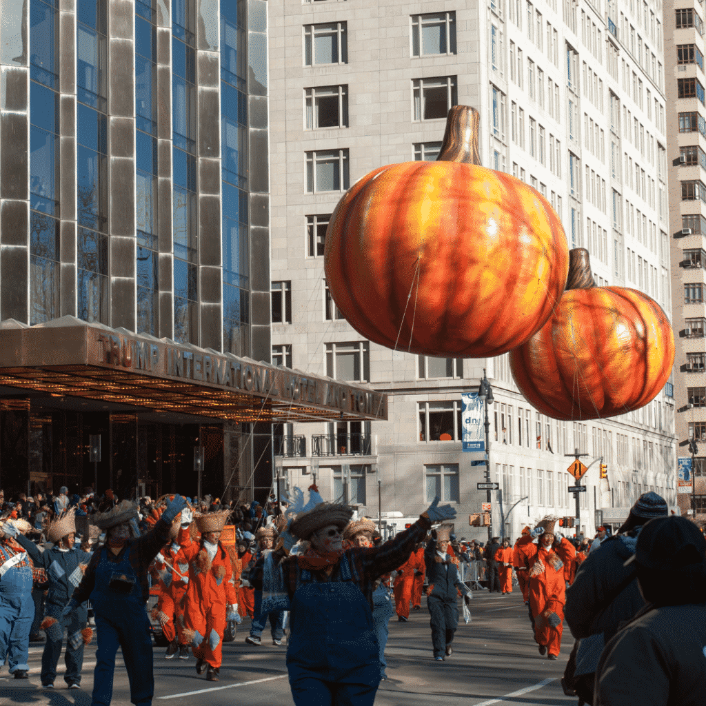 Photo of pumpkin floats in the Macy's Thanksgiving Day Parade.