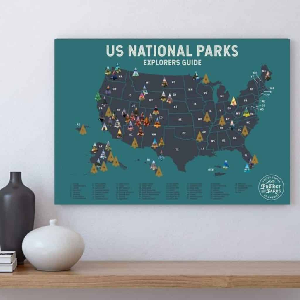Closeup of a scratch off map featuring US national parks.