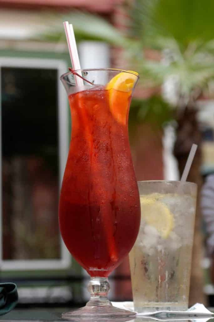 Closeup of a hurricane drink in New Orleans.