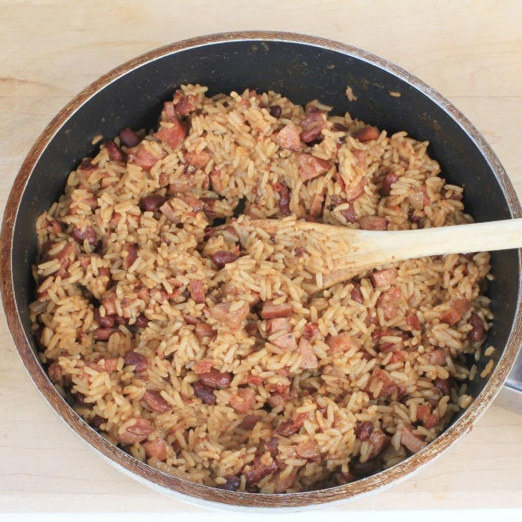 Photo of a large pot of red beans and rice mixed together.